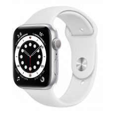 Apple Watch Series 6 44mm GPS Silver Aluminum Case with White Sport Band (M00D3)